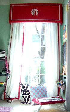 Monogrammed window valance