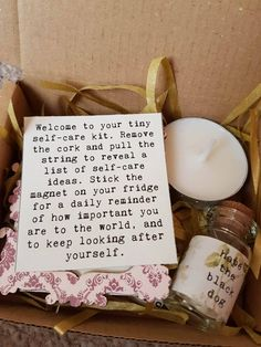 Tiny Self Care kit - £1 donation to Mind - Perfect self care starter kit - free uk delivery  This tiny self care kit was designed as a smaller alternative to the well received Hug Box (http://etsy.me/2dqabsi), and with more focus on looking after yourself. This tiny kit comes in a small box (4x3/10cmx7.5cm) and includes a minute bottle, packed with a list of self care ideas, a single tea light to get into the mood, as well as a little magnet to stick somewhere to remind ...