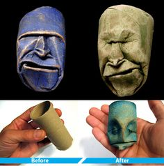Toilet paper roll sculptures DIY - Wet roll and start pinching, When it's dry apply color and then varnish
