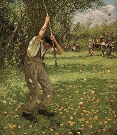 Shaking down cider apples,  Henry Herbert La Thangue. English Realist Painter (1859 - 1929)