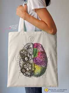Left right brain tote bag-brain tote bag-anatomy by naturapicta