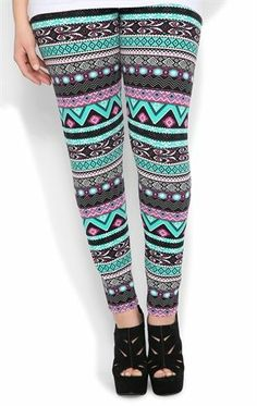 Plus Size Multicolor Tribal Print Legging (11.2013 Deb Shops Plus ...