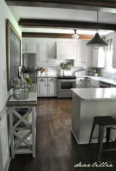 Faux Beam Over Kitchen Bulkhead - Wood Beam Inspiration | So Much Better With Age