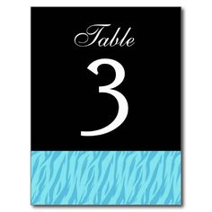 Aqua Zebra Table Number Part of Set of 12 Postcard