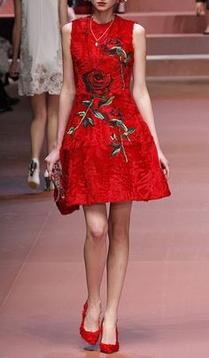 Sleeveless Lamb Fur A-Line Dress With Rose Applique by Dolce & Gabbana for Preorder on Moda Operandi