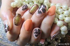 Japanese Nail Art Beautiful Manicure (Orange, Shiny Gold Glitter, Black Floral Flowers Detailing)