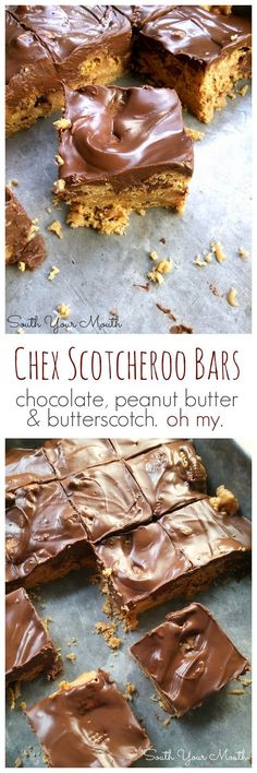Chex Scotcheroo Bars! Chex cereal, peanut butter, chocolate chips and butterscotch morsels in an easy bar recipe.
