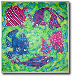 fish silk painting images - Google Search