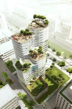 Image 2 of 10 from gallery of Housing Units in Nantes Winning Proposal / Hamonic + Masson. Photograph by Hamonic + Masson Architecture Durable, Architecture Design, Green Architecture, Futuristic Architecture, Sustainable Architecture, Amazing Architecture, Landscape Architecture, Landscape Design, Architecture Diagrams
