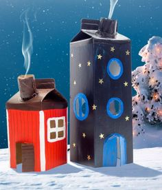 Räucherhäuschen aus Tetrapak basteln DIY Craft Ideas for Kids: Making Smoker Houses with Children – from Old Milk Bags / Milk Cartons Christmas Upcycling and Nice Employment Idea for the Advent Season Tetra Pak, Kids Crafts, Diy Home Crafts, Upcycled Crafts, Diy Y Manualidades, Advent Season, Navidad Diy, Diy Weihnachten, Diy For Kids