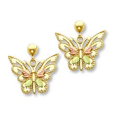 Jared - Butterfly Earrings 10K Tri-Color Gold