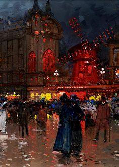 The Moulin Rouge - Eugene Galien-Laloue 1906
