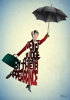 Mary Poppins typography art print poster based on a by 17thandOak, £3.00