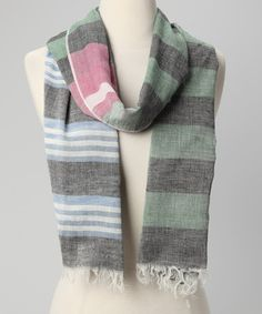 Take a look at this Dark Green & Gray Stripe Scarf by A-Zone on #zulily today!