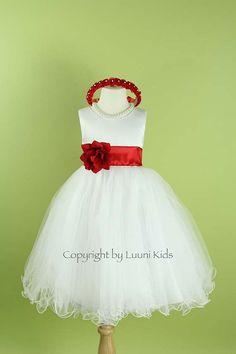 Flower Girl Dress  WHITE Wavy Bottom Dress with Red by LuuniKids, $38.49