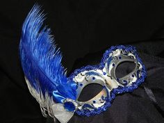 Royal Blue and Silver Feather Masquerade Mask – Made to Order Sweet 16 Masquerade, Masquerade Party, Masquerade Masks, Azul Royal, Royal Blue, Silver Glitter, Blue And Silver, Mask Face Paint, Feather Mask