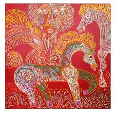 Los caballos del circo. 119x119cm. Oleo sobre tablero de triplay.