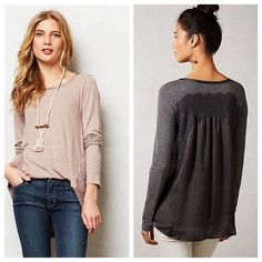 Anthropologie Satine Back Tee, sz XS In charcoal grey. By Bordeaux. In EUC. Anthropologie Tops