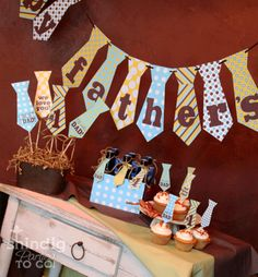 DIY fathers day bunting decoration.