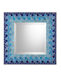 Navy Blue Aqua Light Teal Mosaic Wall Mirror by opusmosaics