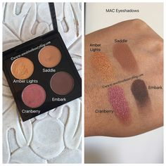 Mac Eyeshadow quad idea with swatches (Amber lights, saddle, cranberry, embark) Source by donnessousley Mac Makeup Looks, Best Mac Makeup, Latest Makeup, Best Makeup Products, Beauty Products, Makeup Tutorial Mac, Eyeliner Tutorial, Mac Eyeshadows, Eyeshadow Palette