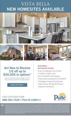 New Homes for Sale in San Antonio, Texas  New Home Sites Available at Vista Bella in the Stone Oak Area!  1/2 Off up to $40K in Options*  |  Up to 6 bedrooms & 5 baths  |  Near Canyon Springs Golf Course  https://www.pulte.com/sitecore/content/pulte/pulte-home-page/homes/texas/the-san-antonio-area/san-antonio/vista-bella-209191#.VYMtr-cwbhk