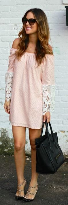 Pink And White Lace Accent Off Shoulder Shift Mini Dress