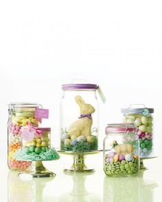 Chocolate Bunnies in Jars...Kitchen Mantle