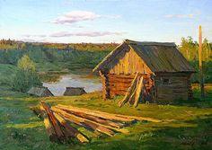 Bath Houses rural landscape - oil painting