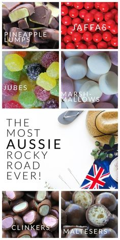 Clinkers maltesers jubes jaffas pineapple lumps - without a doubt this is the most Aussie rocky road ever made! Aussie Food, Australia Day, Rocky Road, Confectionery, Sweet Recipes, Christmas Recipes, Holiday Recipes, Sweet Treats, Yummy Treats