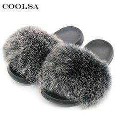 f947e3f8c Fox Fur Slippers Women Flip Flops Real Fox hair Slides Female Furry Slipper.  Cute SandalsBeach ...