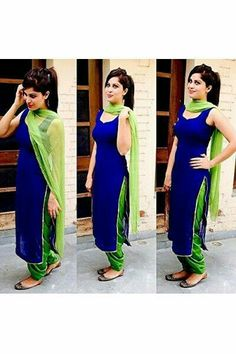 Blue and green sleeveless suit..