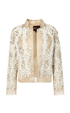 Bibhu Mohapatra | Beige Lasercut Leather Applique Jacket | Lyst