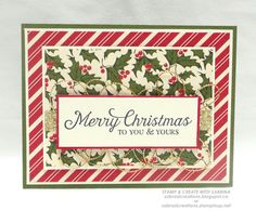 """Stamp & Create With Sabrina: Another Easy """"Home For Christmas"""" DSP Card"""