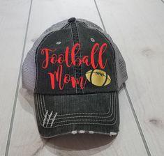 16f9789b Football Mom Hat, Messy Bun Hat, Customized Football Mom Cap, High Ponytail  Hat, Fun Football Cap, Football Mom Hat