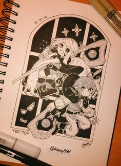 Inktober Day 27: Eira and Elric, the two little wizard from a cpc game called Top Top that I am developing with Davitsu ^^
