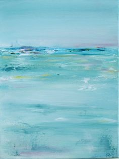 "Abstract Ocean Paintings | Abstract Ocean Oil Painting Original ""Aquamarine"" // 12 x 18"" Canvas ... #OilPaintingWater"
