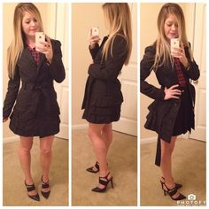Black Raincoat w/ Ruffle Trim Buttons up the front and has optional belt. Never worn!! Xhilaration Jackets & Coats