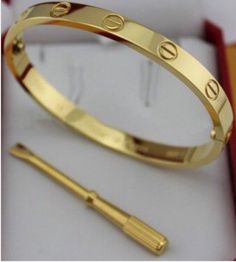 Cartier Love Bracelet - Cartier Yellow Gold Love Bracelet New Version - 95 usd Cartier Trinity Bracelet, Cartier Nail Bracelet, Cartier Love Bangle, Cartier Gold, Cartier Jewelry, Love Bracelets, Fashion Bracelets, Bangles, Bracelet Sizes