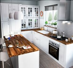 Cocina americana, Qué dicen otros usuarios Small Kitchen Designs Photo Gallery ,Small Kitchen Cabinet Designs ,Kitchen Color Ideas for Small Kitchens ,Small Kitchen Appliances Kitchen Dinning, Home Decor Kitchen, Kitchen Interior, New Kitchen, Home Kitchens, Small Kitchens, Kitchen Layout, Cocina Office, Kitchen Designs Photos