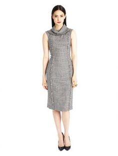 Oscar de la Renta - Houndstooth Plaid Roll Collar Pencil Dress, $1,990.00