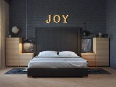 Спальня, 11, 3d-визуализация лофт интерьер дизайн, просмотров 752