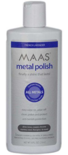 Maas International Liquid Metal Polish, 8-Ounce by Maas International Inc., us home, MAASJ. Save 2 Off!. $10.79. MAAS Metal Polish is very easy to use. MAAS Liquid Metal Polish is great for large surface areas. MAAS Metal Polish applies a super strong anti-tarnish corrosion inhibitor plus long-lasting protection. MAAS Liquid Metal Polish is for light to medium polishing or for surfaces previously restored with MAAS Metal Polishing crème.