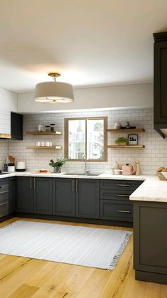 Brown Kitchens, Modern Farmhouse Kitchens, Cool Kitchens, Kitchen Interior, Kitchen Decor, Kitchen Ideas, Kitchen Colors, Kitchen Cabinet Paint Colors, Kitchen Inspiration