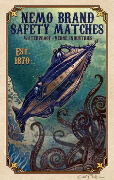 Nautilus Nemo Brand Matchbox Art- x matted signed print Steampunk Design, Steampunk Drawing, Matchbox Art, Leagues Under The Sea, Ad Art, Sign Printing, Animal Tattoos, Canvas Pictures, Illustrations