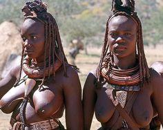 Himba, Angola. Left : Leopard Cone.  Right : Marble Cone .