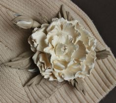 Cream leather flower, leather rose, leather brooch, leather corsage