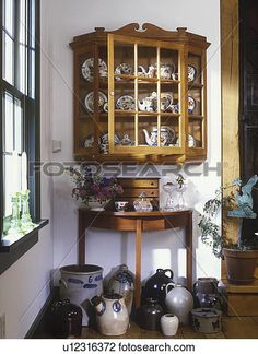 Incroyable COLLECTION  Wall Display Cabinet With Gaudy Dutch China Stoneware Jugs On  Flooru2026