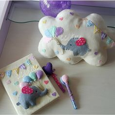 The pillow and notebook I prepared for my name :] :] # cicilikece # kapisusu # birth Handmade Crafts, Diy And Crafts, Types Of Textiles, Felt Pillow, Felt Wreath, Felt Decorations, Felt Hearts, Felt Toys, Felt Animals