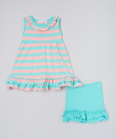 Love this Teal & Pink Stripe Ruffle Tunic & Shorts - Infant, Toddler & Girls by Twincessities on #zulily! #zulilyfinds
